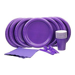 Amazon.com: Lovely Purple Party Set! Includes Purple Dinner Plates, Cutlery, Napkins and Cups: Toys & Games