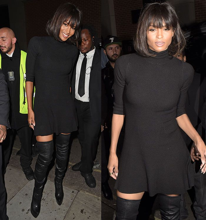 Ciara Hosts London Fashion Week Closing Party in Topshop Mini and Racy Christian Louboutin Thigh-High Boots
