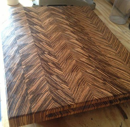 Zebra end grain cutting board.