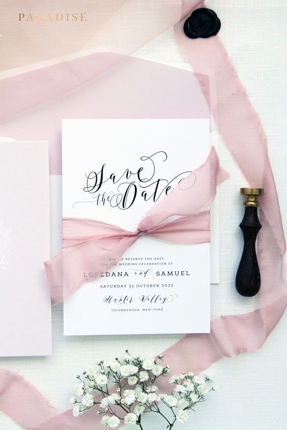 Camelina Rose Pink Save the Date Cards, Printable Save the Date Cards or Printed Save the Date Cards, Monogram Save the Date, Save the Date