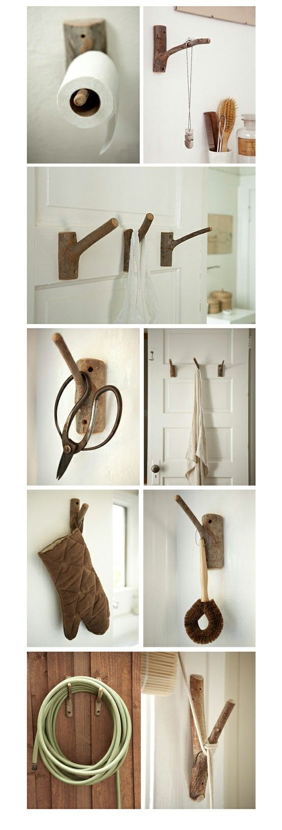 branch hooks - I like the toilet paper and curtain tieback idea!