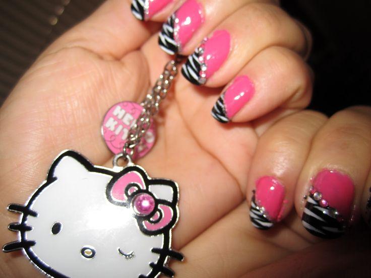 Pink And Black Zebra Nail Design / Blue Rhinestones Nail Design