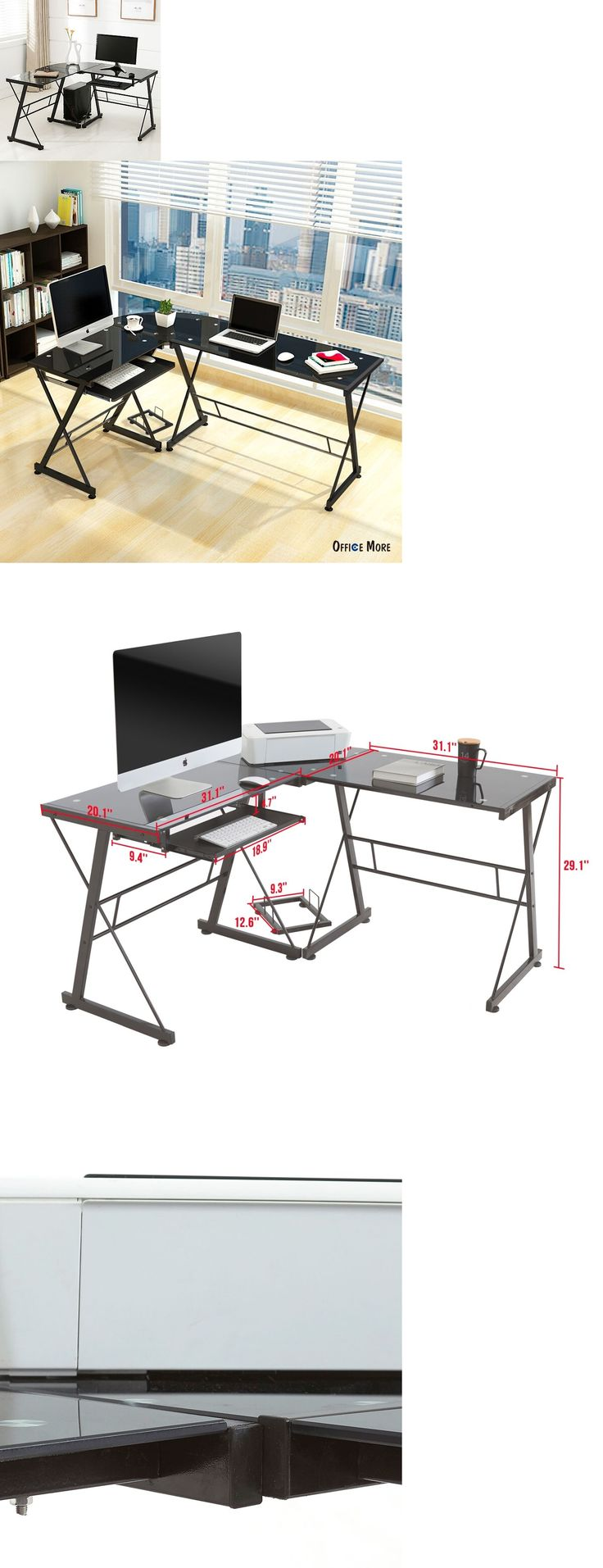 furniture: L-Shape Corner Computer Desk Pc Glass Laptop Table Workstation Home Office Black -> BUY IT NOW ONLY: $62.5 on eBay!