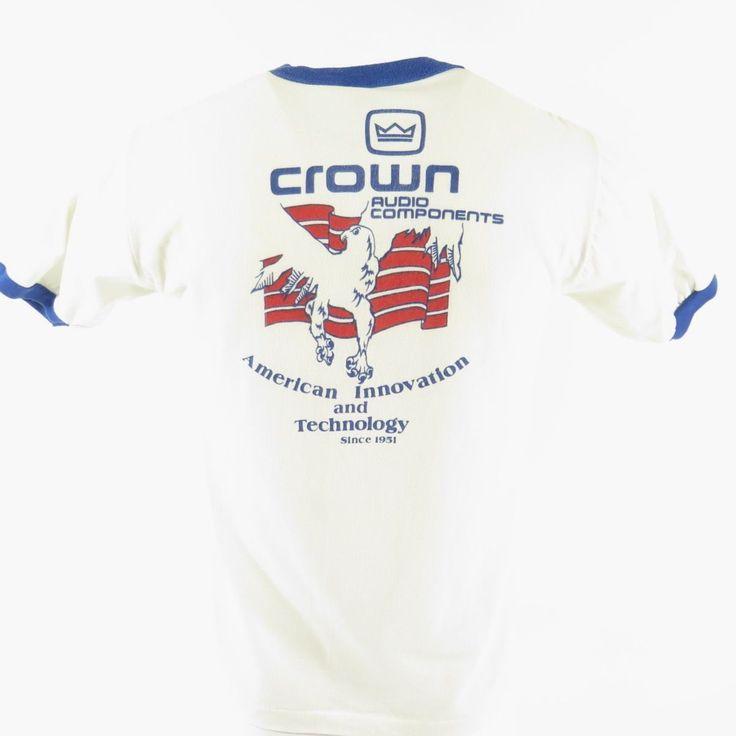 Vintage 80s Crown Audio T-Shirt Mens L Sportswear 50/50 Eagle American White | eBay