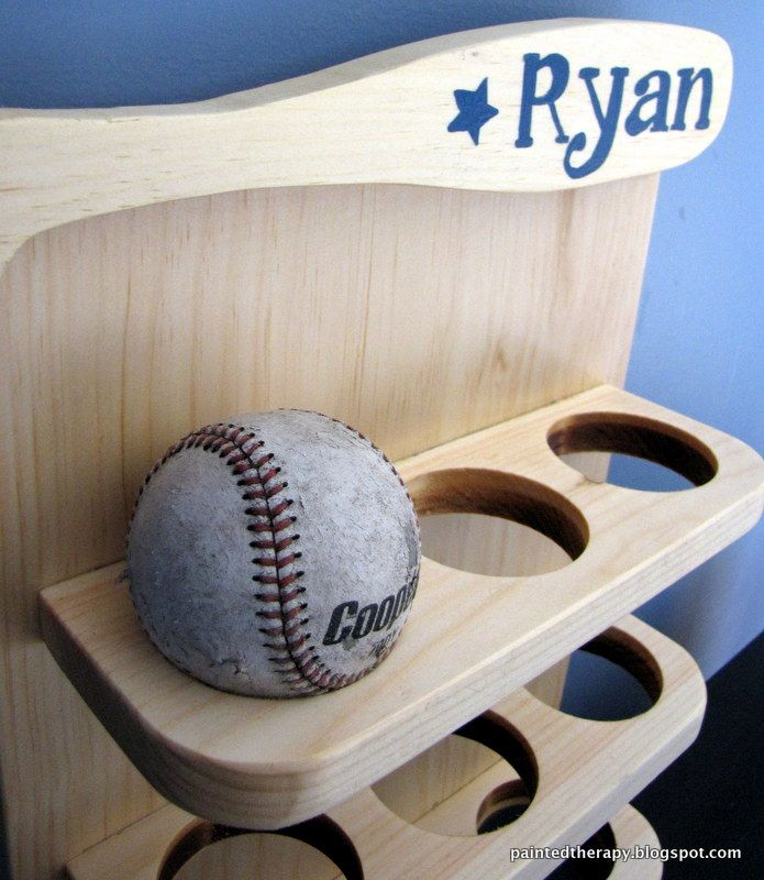 Painted Therapy Knock Off Baseball Display Shelf