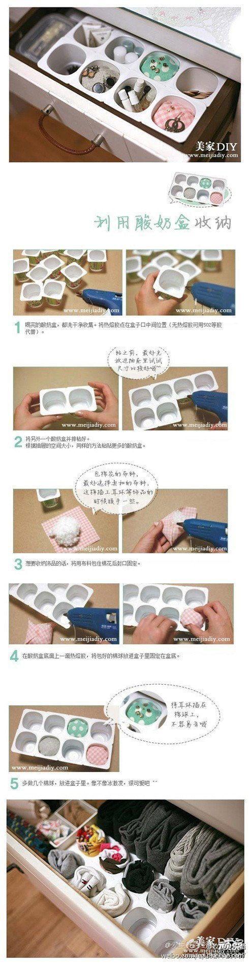DIY Organiser. Using empty yogurt cans. Cool!