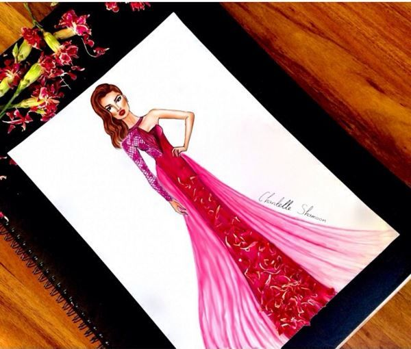 à fleurs collection • 6   #fashion #hautecouture #couture #illustration #design #designer #art #digitalart #pencilart #flowers #dress #longdress #pink #chantelleshamoon