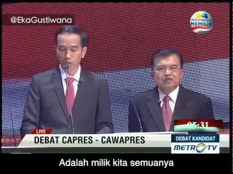 Prabowo Hatta dan Jokowi JK Nyanyi Bareng di Debat Capres - TEPUK TANGAN