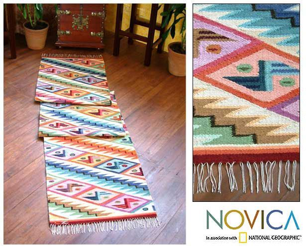 Novica Rainbow Cascade Zigzag with Butterfly Motifs Multicolor Handwoven Artisan Wool and Cotton Floor Runner Rug (Peru), Blue, Size 2' x 10'