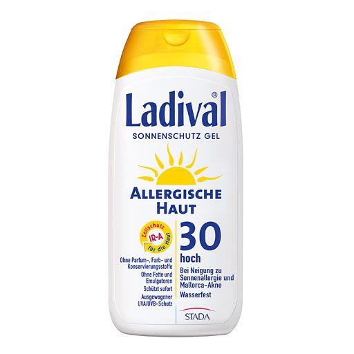 """LADIVAL allergische Haut Gel LSF 30 200 ml. Sonnenschutz bei Mallorca-Akne und Sonnenallergie.  Ladival® Allergische Haut ist der ideale Sonnenschutz für alle Personen, die zu allergischen Hautreaktionen in der Sonne neigen. Die leichten Hydrodispersionsgele auf Wasserbasis enthalten weder Fette noch Emulgatoren – die häufigsten Auslöser für die wohl bekannteste Form der Sonnenallergie, die so genannte """"Mallorca-Akne"""". Juckende Bläschen und Quaddeln in der Sonne können so vermieden werden."""