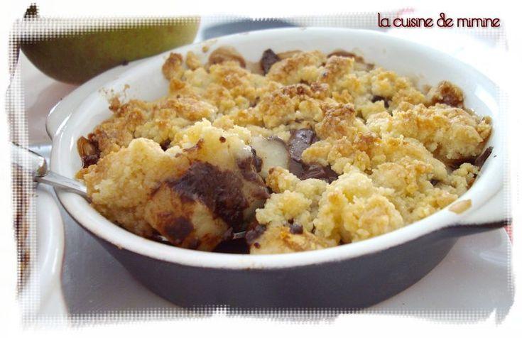 Crumble poire chocolat - C. Lignac