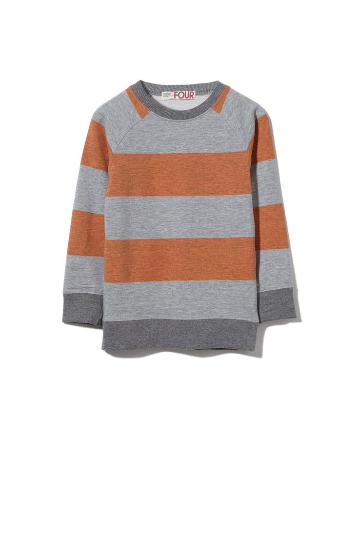 rory reverse pullover, LT GREY MARLE/NECTARINE STRIPE
