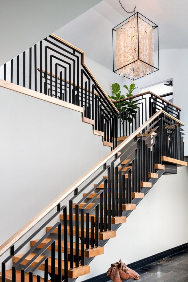 11+ Modern Stair Railing Designs That Are Perfect! | wrought iron