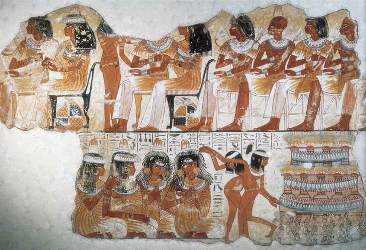 Banquet Scene – Fragment of a wall painting from the tomb of Nebamun, Thebes (18th Dynasty: c. 1400-1350 BC) London, British Museum