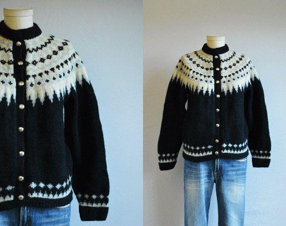 Vintage Nordic Cardigan / 70s Hand Knit Wool by zestvintage