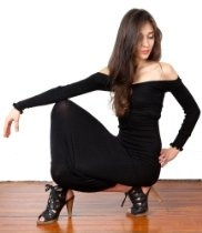 Black Calf Length Cocktail Party Sexy Sweater Dress by KD dance, Curve Flattering, Sophisticated & Modest, Fashionable, Playful & Unique, Stretch Knit Soft, Cozy & Warm, Made In New York City USA