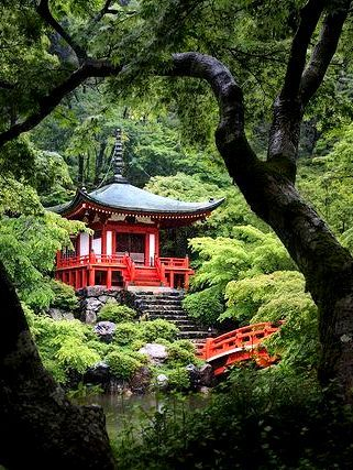 Kyoto - Daigo-ji,  Boeddhistische tempel uit 874. Tuinaanleg vanaf 1598. foto theehuis