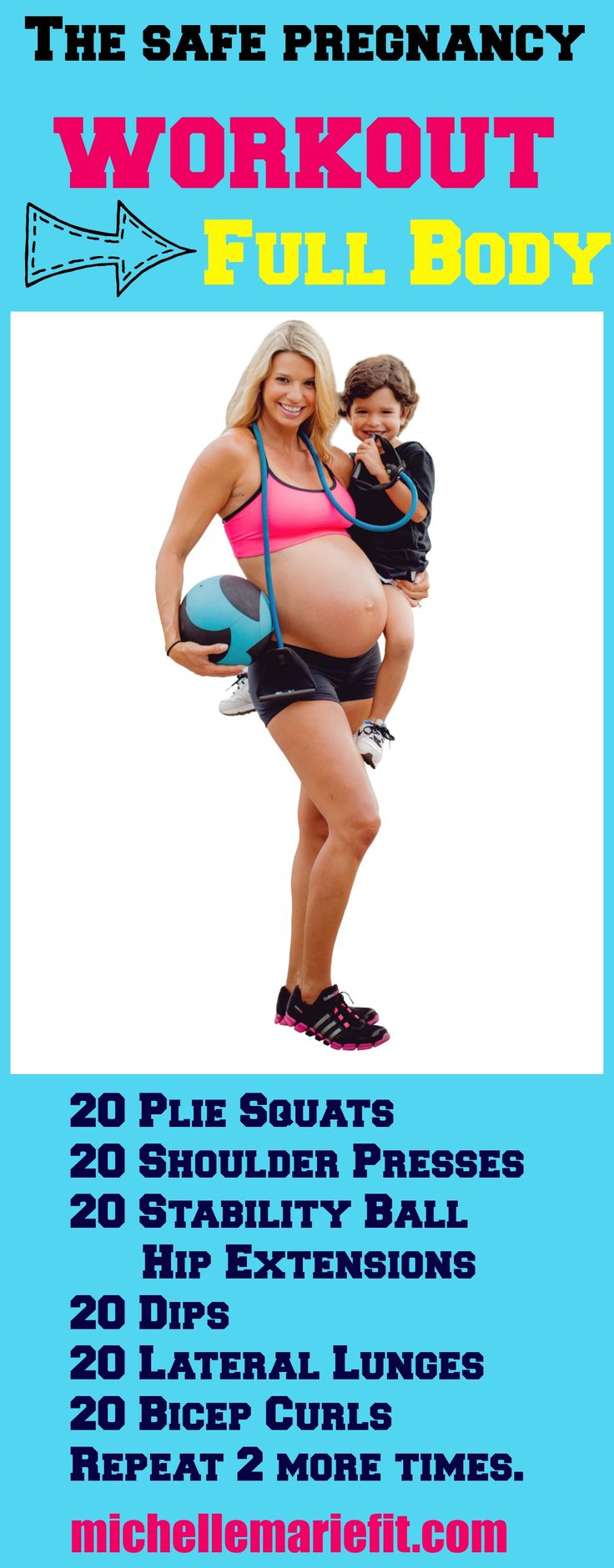 This Full Body Workout is SAFE for Pregnancy. It hits every muscle and will help you not gain a ton of weight this pregnancy. Try this week by doing this at home. More pregnancy workouts here.