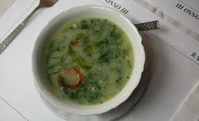Green soup or Portuguese kale soup, one of the two most popular Portuguese soups. Try it. Delicious.