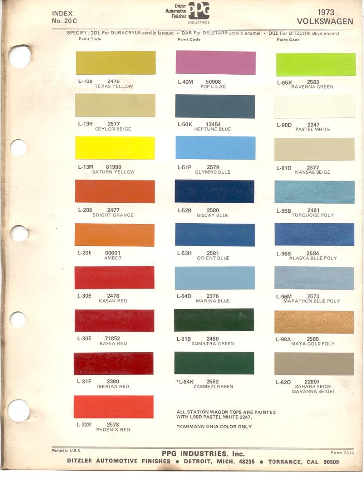 Paint Chips 1973 Volkswagen Beetle VW Bus