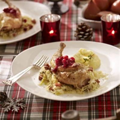 Gestoofde konijnenbout met zuurkool en cranberry's - Hoofdgerecht