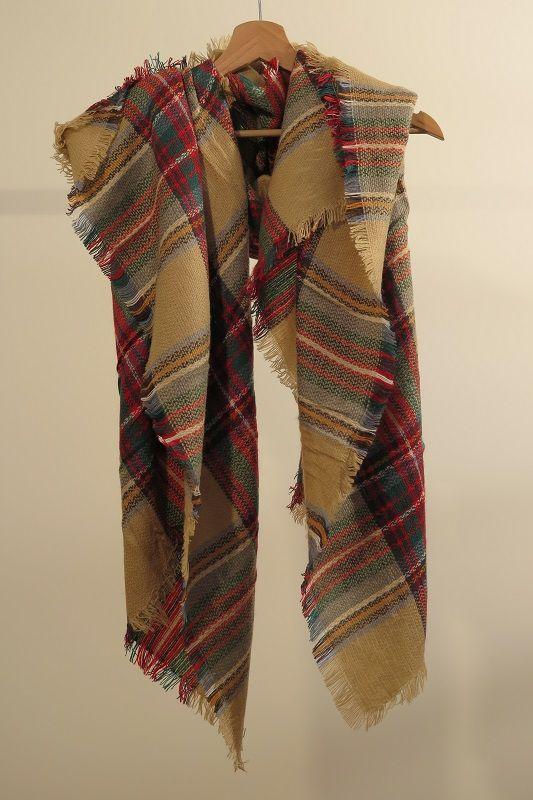 ¡Escribe a info@escampe.com para conseguir tu pañuelo de moda por 10€! 140 x 140 Pañuelo maxibufanda de cuadros clásico (beige verde rojo amarillo)