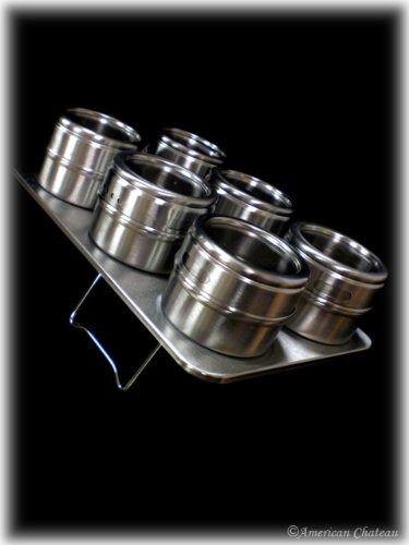 acero inoxidable spice rack con 6 tarros magnéticos