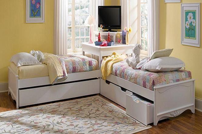 L-shaped Beds with Corner Unit | corner utilisation with L shaped -trundle-beds