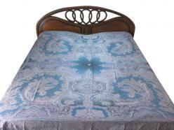 Blue Kashmir Pashmina Bedspreads Indian Bedding Jamavar Blanket Throw