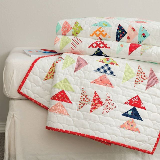 This flurry of Flying Geese is like a breath of fresh air! Choose 3 charm packs and a background fabric to make this *charming* quilt by Bonnie Olaveson of Bonnie & Camille.