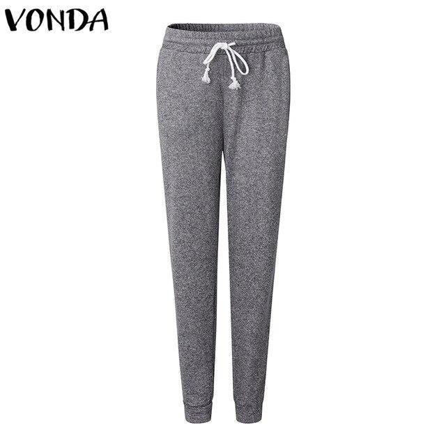 VONDA Women Pants 2019 Autumn Sexy Female Capris Casual Elastic High Waist Fitted Trousers Elegant Pockets Pencil Bottoms