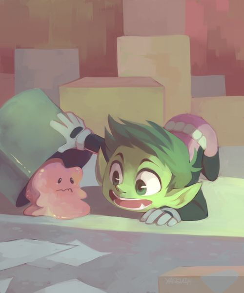Beast Boy and Ditto by ya-ssui; Beast Boy finds a kindred spirit
