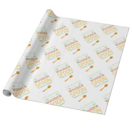 I Survived The Wooden Spoon Funny Wrapping Paper - vintage gifts retro ideas cyo