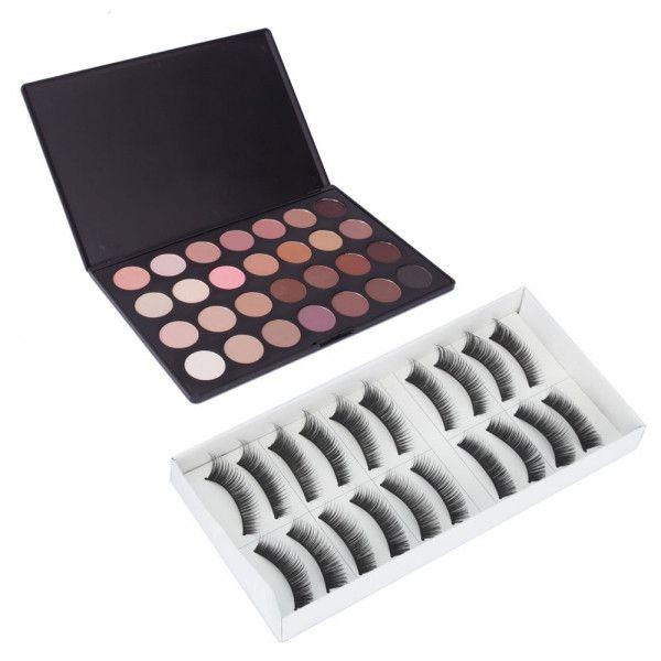 28 Color Eyeshadow Palette and 10 Pairs False Eyelash Makeup Set 003