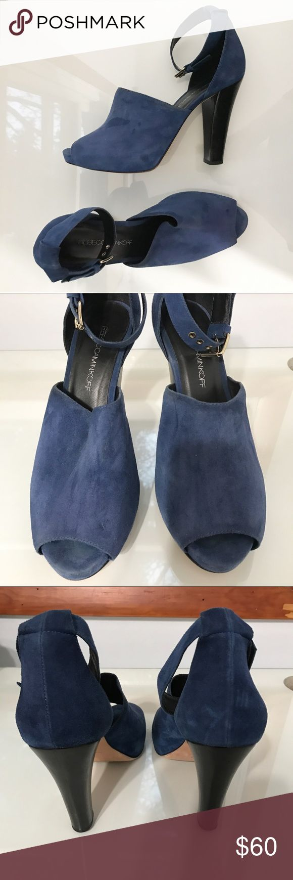 Rebecca Minkoff Blue Suede Heels These fabulous blue heels from Rebecca Minkoff are gorgeous! They're in good condition. They've only been worn a handful of times. Feel free to ask any questions or make a reasonable offer! Rebecca Minkoff Shoes Platforms