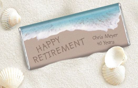 Beach Themed Retirement Party Favors featuring the Retiree's Name and Years of Service #chocolatefavors