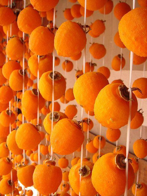 Dried persimmons, Nagano, Japan 市田柿