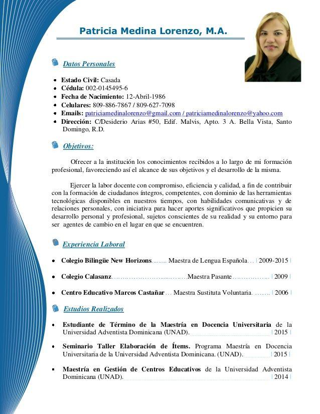 Republica Dominicana Modelos De Curriculum Vitae Pinterest