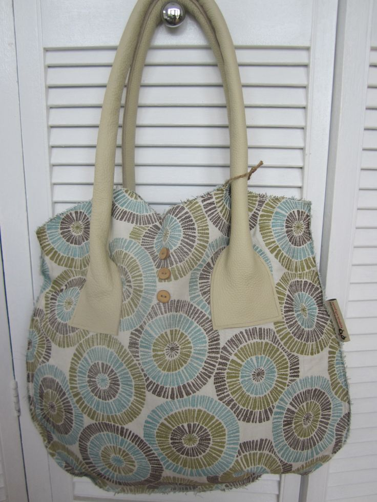 Upholstery tote bag with cream leather handles