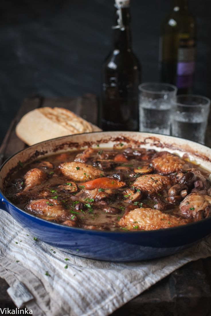 Warm and comforting chicken braised in red wine-the best of French country cooking!