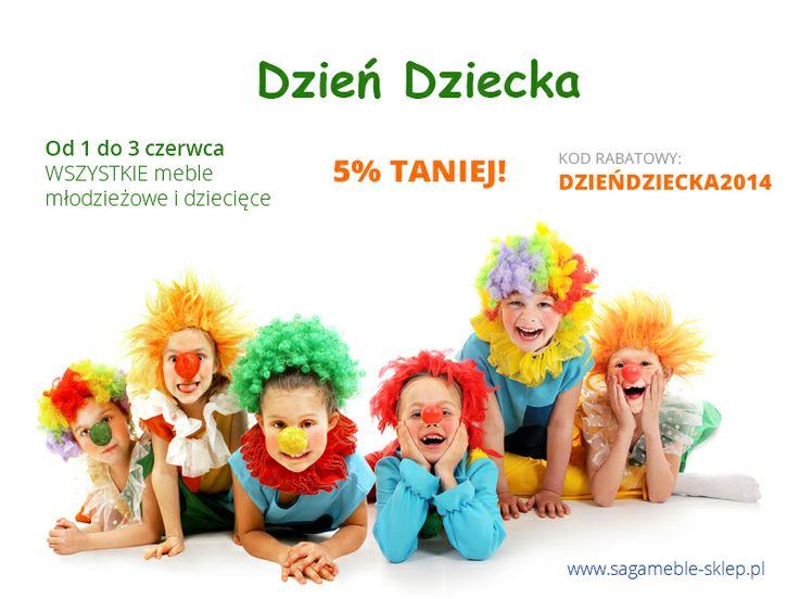 Dzień Dziecka w Saga Meble!  Z okazji Dnia Dziecka obniżamy ceny wszystkich mebli dla dzieci i młodzieży o 5%! Promocję obejmują więc wszelkie zestawy dla młodzieży, meblościanki młodzieżowe, meble dziecięce od Timoore czy Baby Best, łóżeczka itd.  http://sagameble-sklep.pl/aktualnosci/8-dzien-dziecka-w-saga-meble