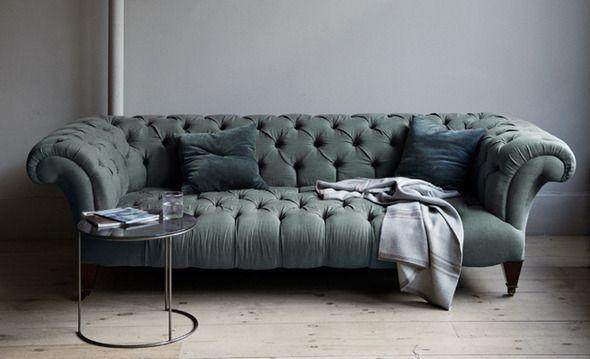 Deep tufted chesterfield sofa