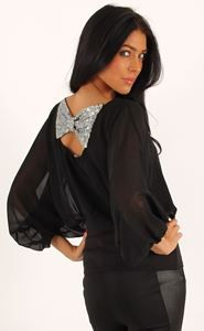 Black chiffon top with Sequin Bow - perfect for the party season. £19.95