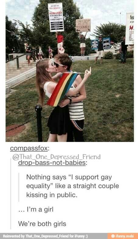 ALSO, JUST BECAUSE A COUPLE APPEARS STRAIGHT DOES NOT MEAN THEY ARE. ONE OR BOTH COULD BE TRANS, BI, POLY, ACE, OOR MANY OTHER OPTIONS BESIDES STRAIGHT AND CIS.