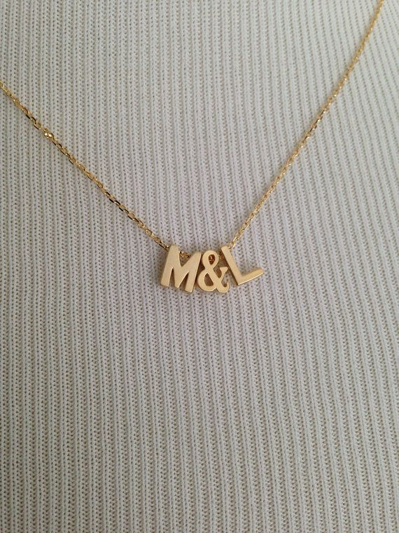 Uppercase initials and ampersand necklace