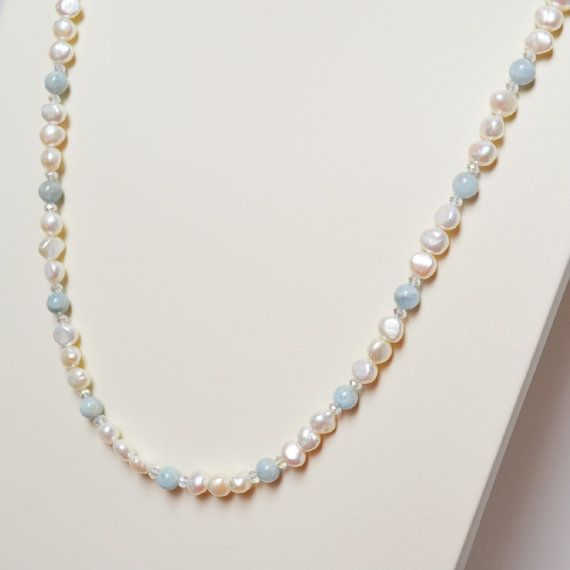 Pearl 3  Freshwater Pearl Aquamarine and by MissionBlueArts