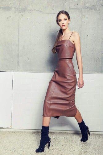 Andra Andreescu chocolate crop top & pencil skirt