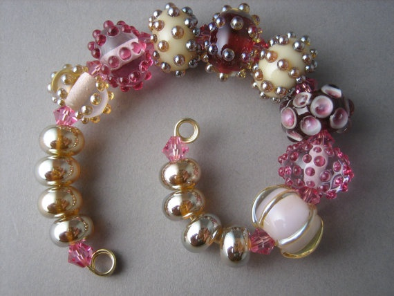 Rose Petals from Farmer Daves Beads  Handmade Lampwork Bead Set SRA via  Etsy