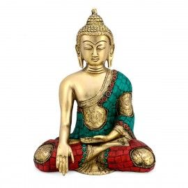 """8"""" Brass Asthmangal Buddha Statue with Incredible Hand Carving"""