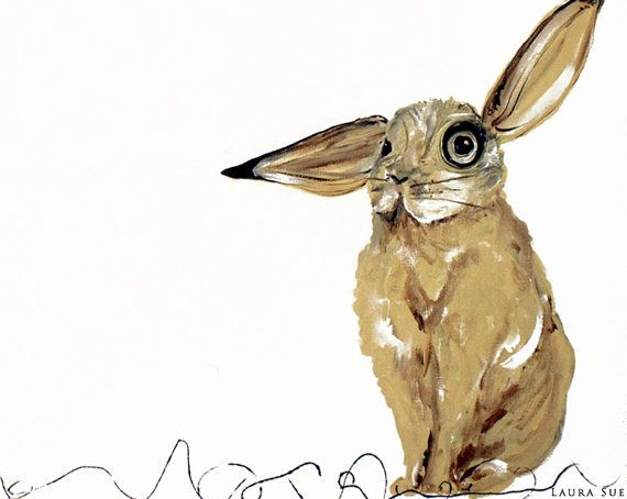 Rabbit Print Bunny Poster Unique Wall Art by ContemporaryEarthArt, $15.00